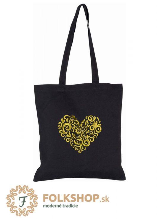 Čierna nákupná taška s výšivkou zlatého srdca