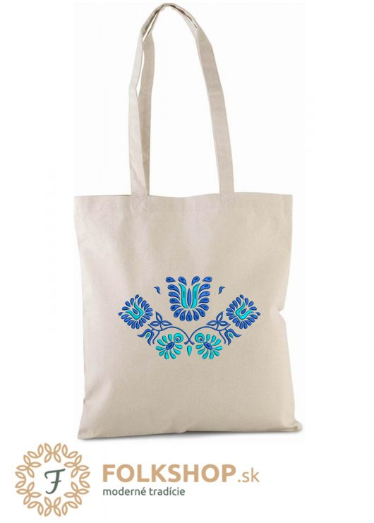Naturálna nákupná taška s modrou výšivkou_vzor 02