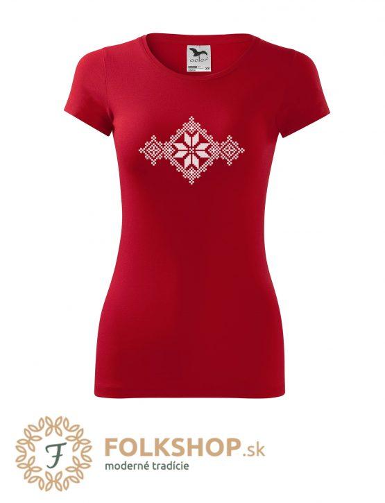 dámske červené folklorne tričko