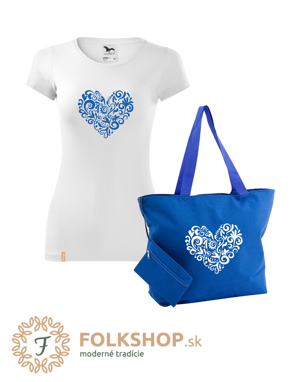 💙 Modrý set   dámske tričko + plážová taška  50590e2432