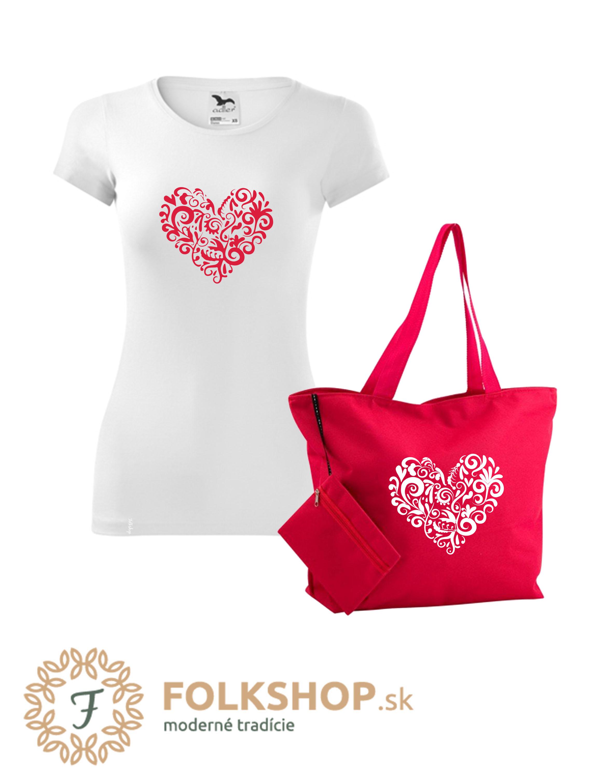 ❤ Červený set   dámske tričko + plážová taška  c58599ee842