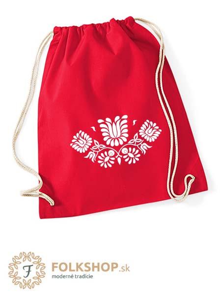 červený vak s výšivkou 02 -biela