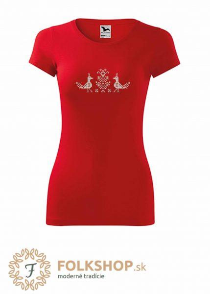 Dámske červené tričko s krížikovou výšivkou_vzor 35
