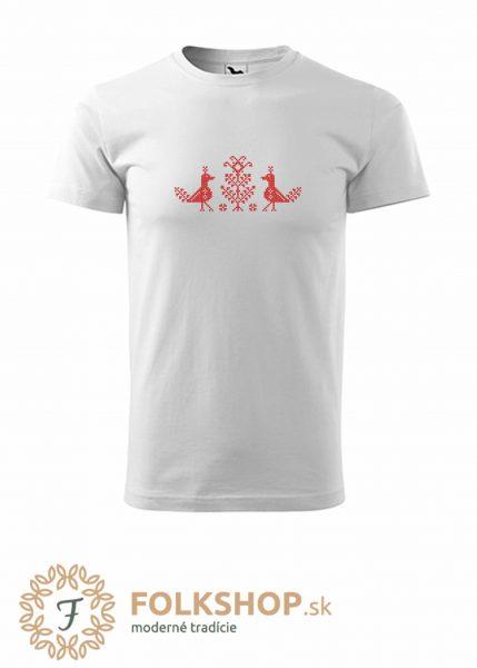 Pánske biele tričko s krížikovou výšivkou_vzor 35